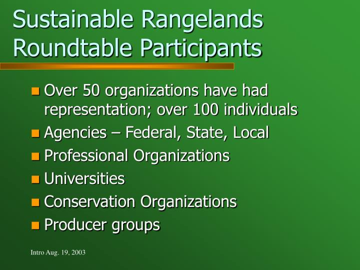 Sustainable Rangelands Roundtable Participants