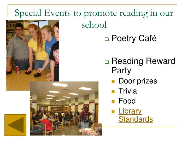 Special Events to promote reading in our school