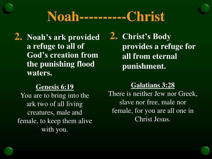 Noah's ark provided a refuge to all of God's creation from the punishing flood waters.