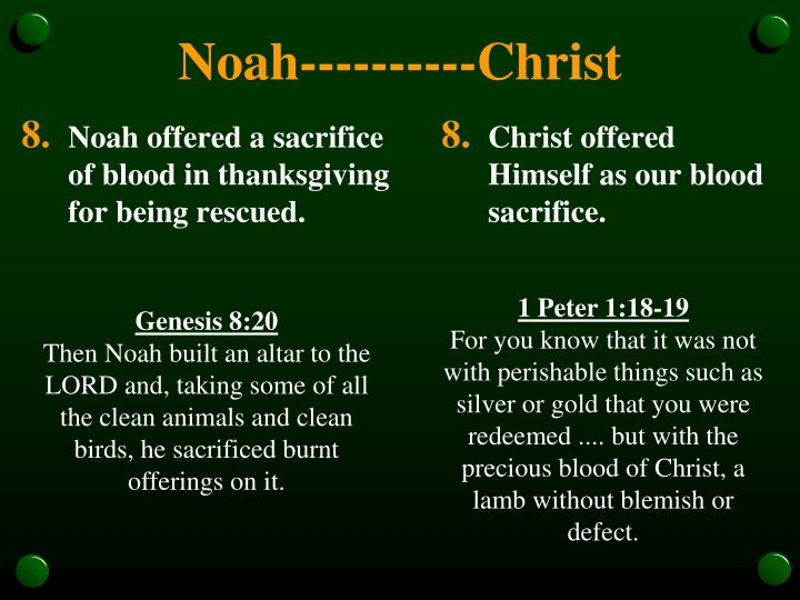 Noah offered a sacrifice of blood in thanksgiving for being rescued.