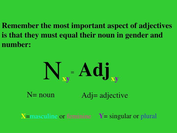 Remember the most important aspect of adjectives