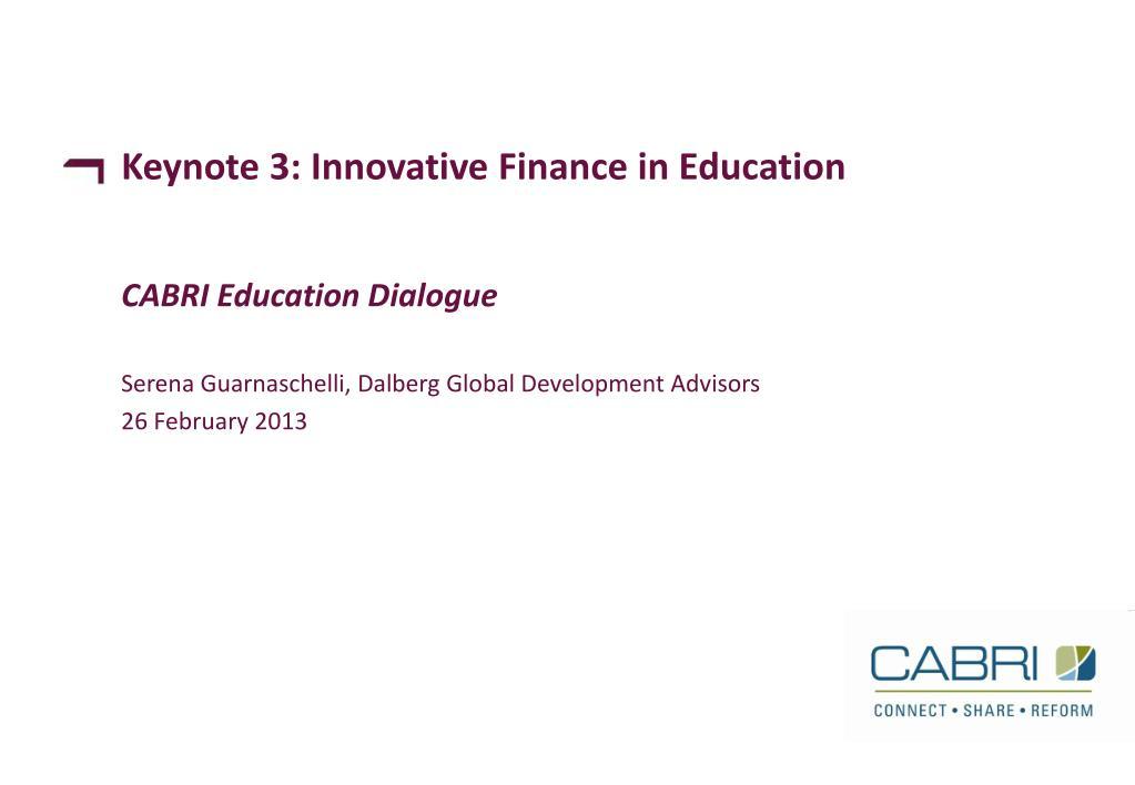 ppt keynote 3 innovative finance in education powerpoint