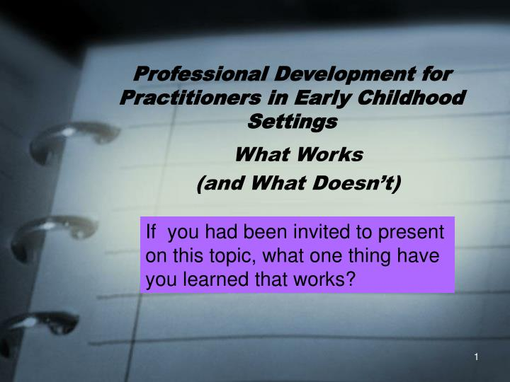 professional development for practitioners in early childhood settings n.