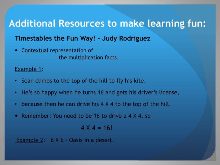 Additional Resources to make learning fun: