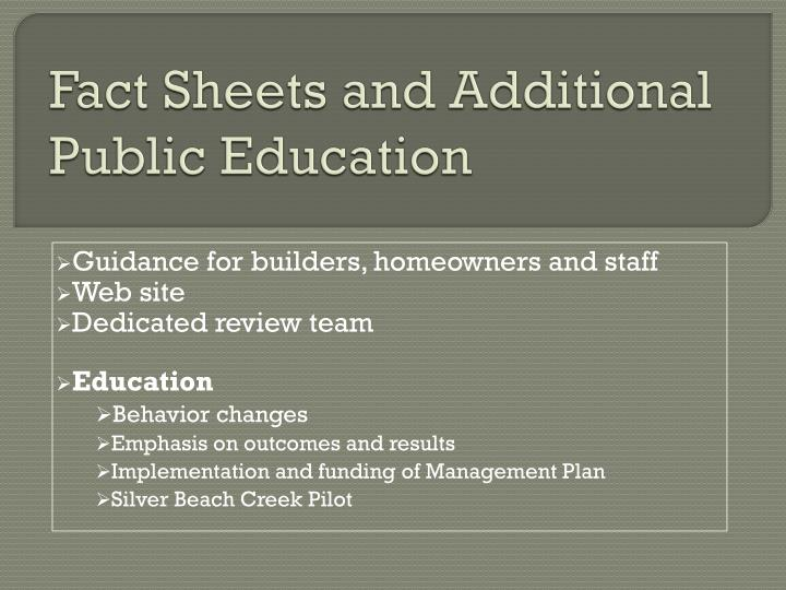 Fact Sheets and Additional Public Education