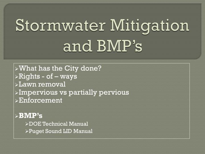 Stormwater Mitigation and BMP's