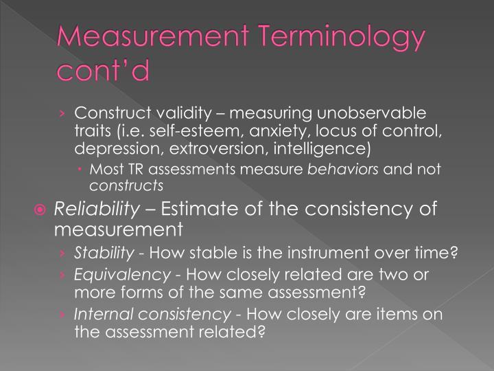 Measurement Terminology cont'd