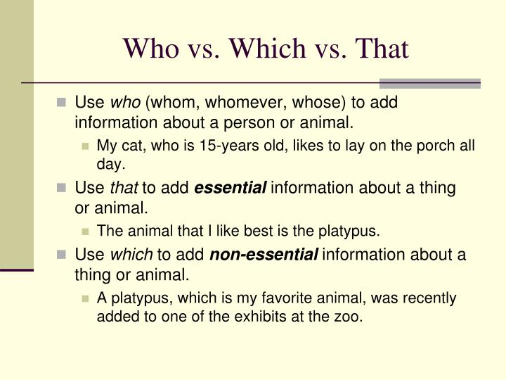 Who vs. Which vs. That