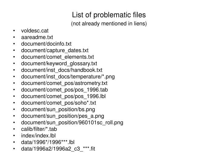 List of problematic files not already mentioned in liens