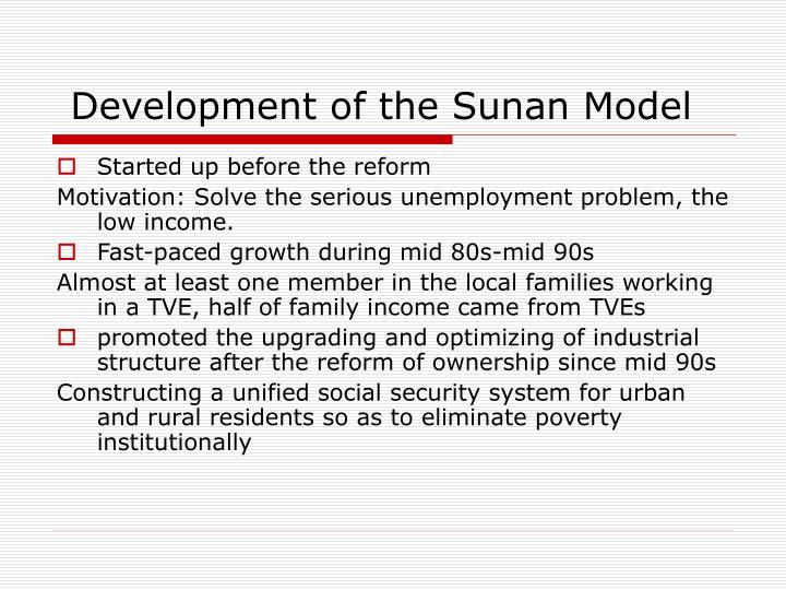 Development of the Sunan Model
