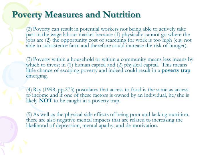 Poverty Measures and Nutrition