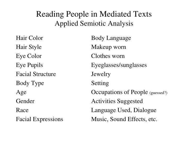 Reading People in Mediated Texts