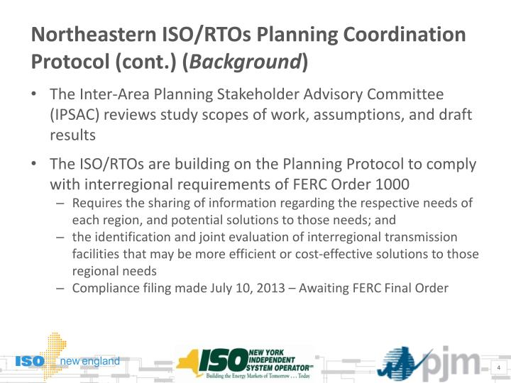 Northeastern ISO/RTOs Planning Coordination Protocol (cont.) (