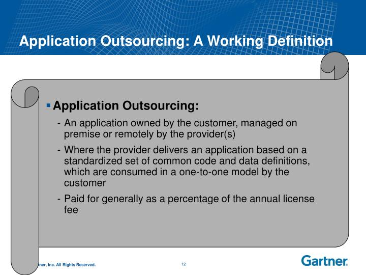 Application Outsourcing: A Working Definition