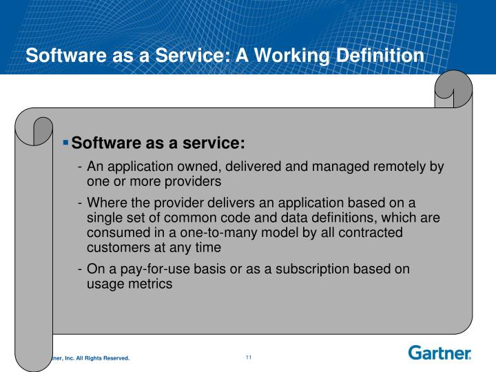 Software as a Service: A Working Definition
