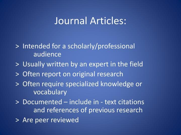 Journal Articles: