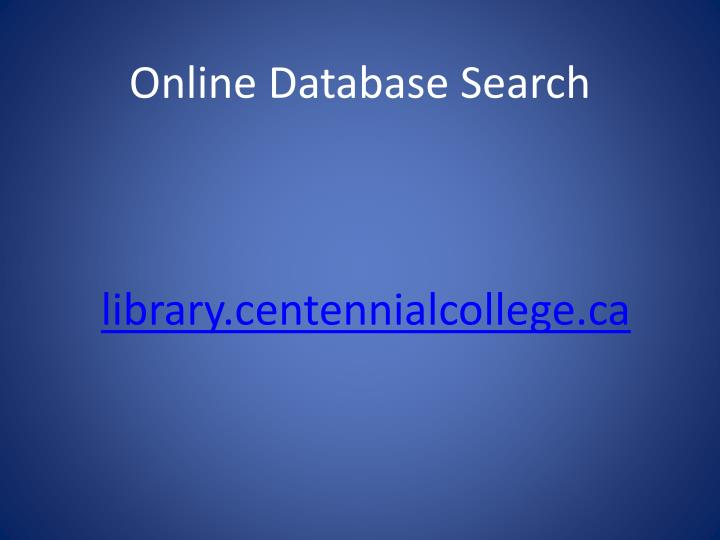 Online Database Search