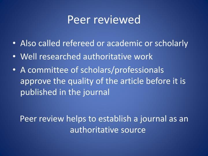 Peer reviewed