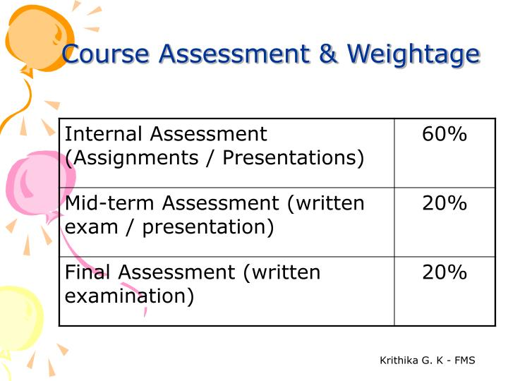 Course Assessment & Weightage