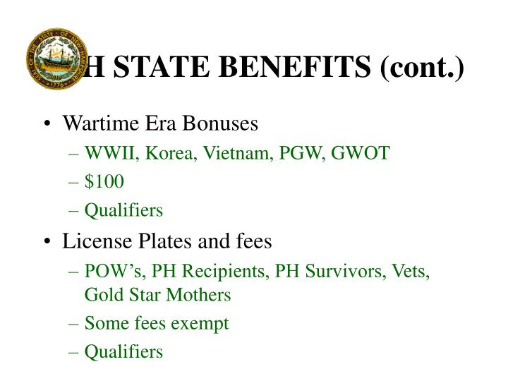 NH STATE BENEFITS (cont.)