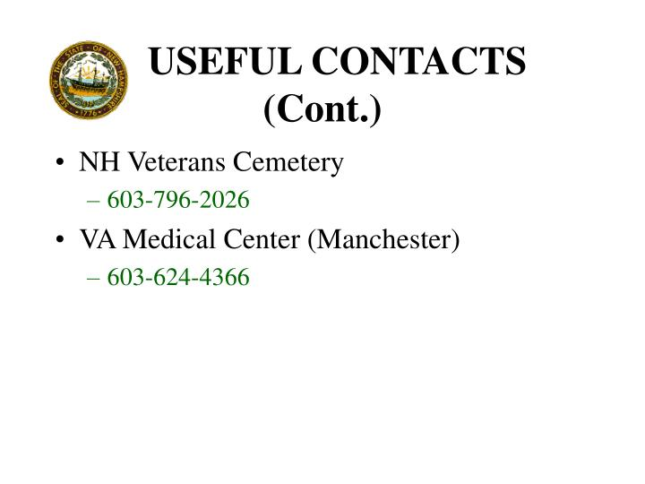 USEFUL CONTACTS (Cont.)