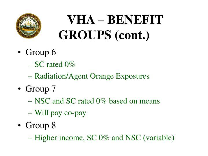 VHA – BENEFIT GROUPS (cont.)