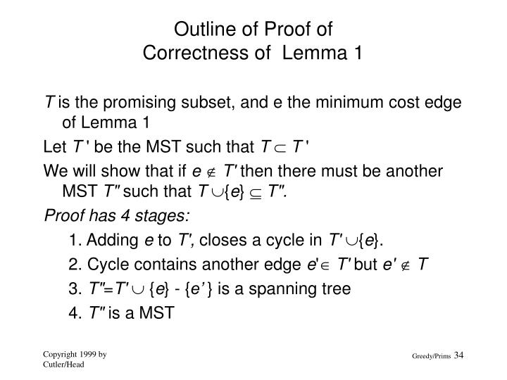 Outline of Proof of