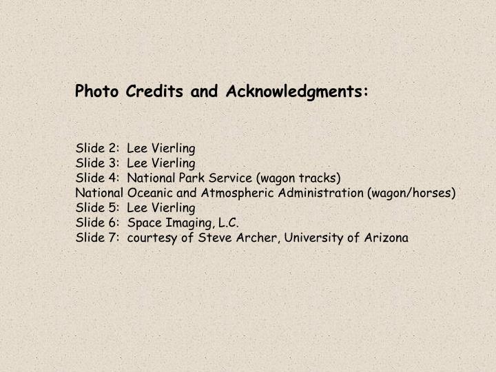 Photo Credits and Acknowledgments: