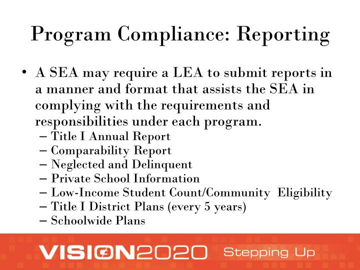 Program Compliance: Reporting