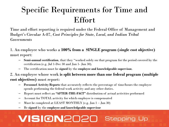 Specific Requirements for Time and Effort