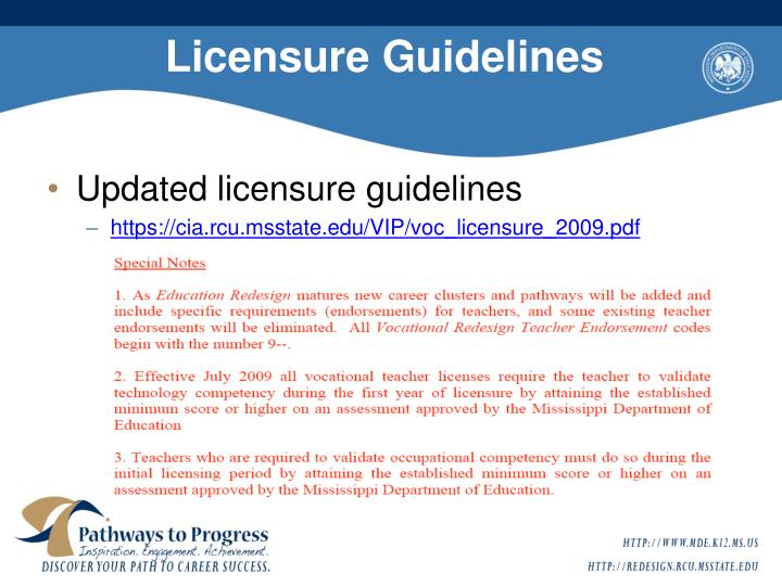 Licensure guidelines