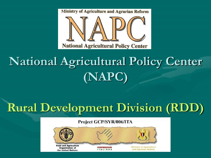 national agricultural policy center napc rural development division rdd