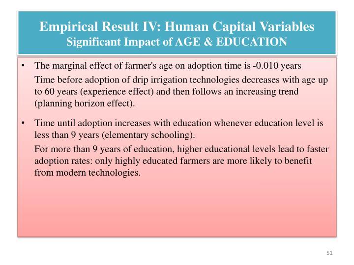 Empirical Result IV: Human Capital Variables