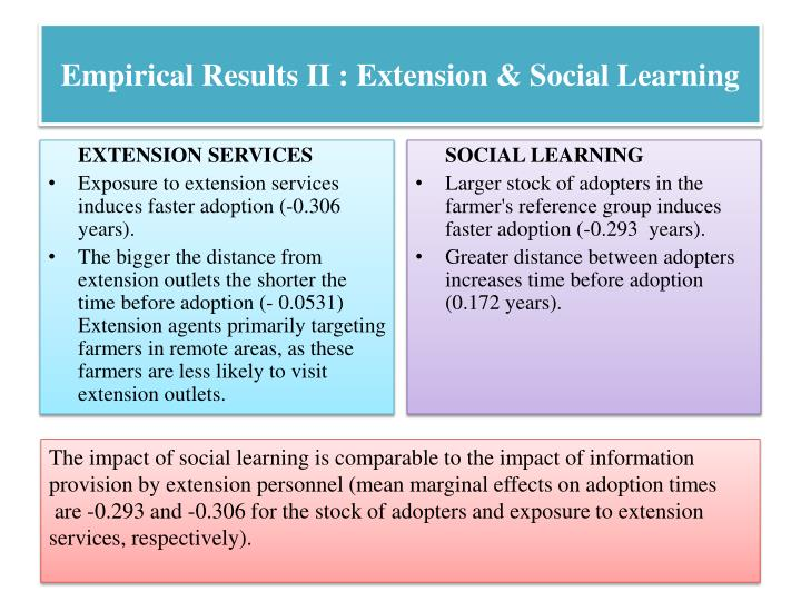Empirical Results II : Extension & Social Learning