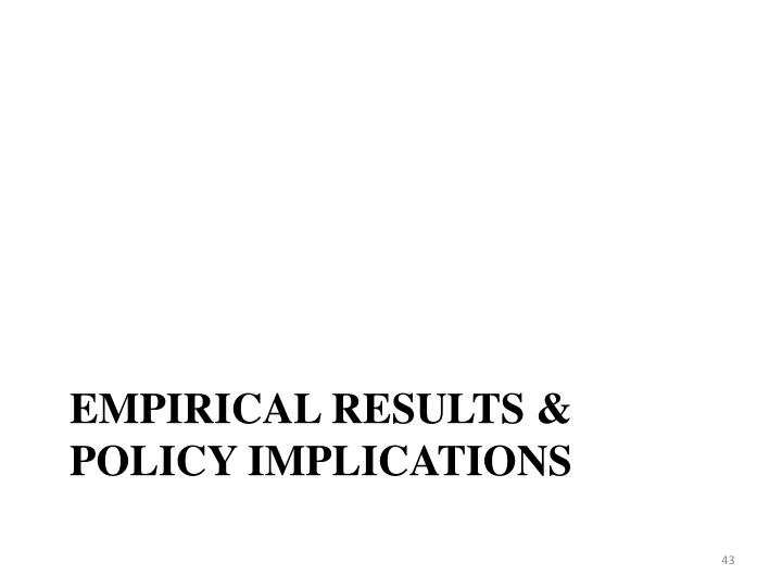 Empirical results & policy implications