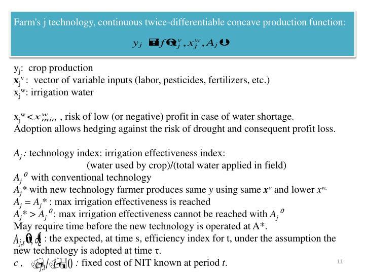 Farm's j technology, continuous twice-differentiable concave production function: