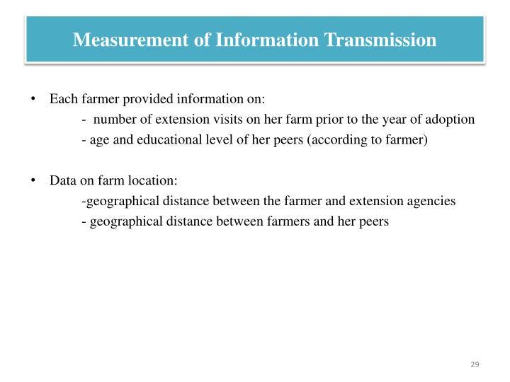 Measurement of Information Transmission