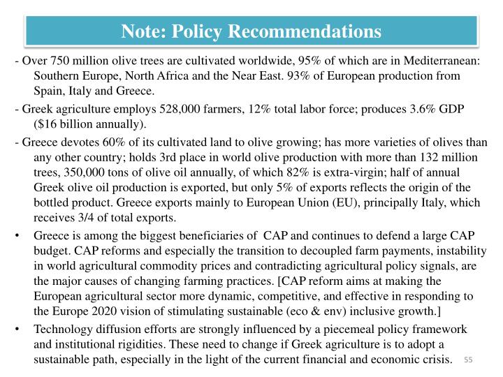 Note: Policy Recommendations