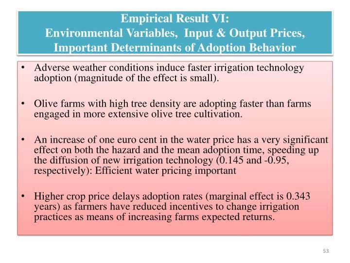 Empirical Result VI: