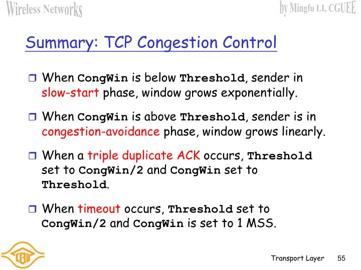 Summary: TCP Congestion Control