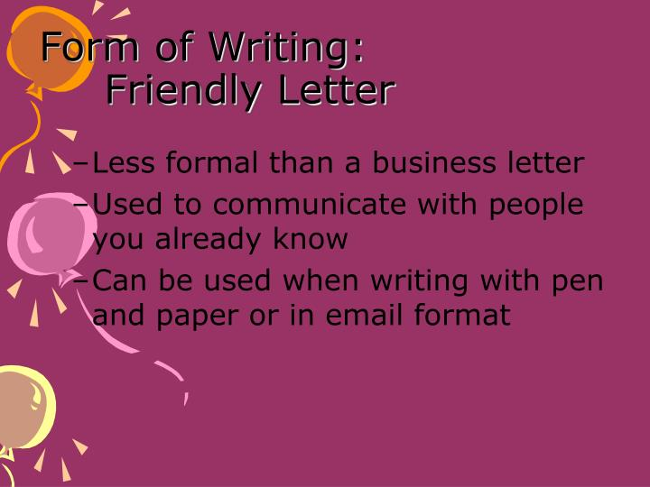 form of writing friendly letter