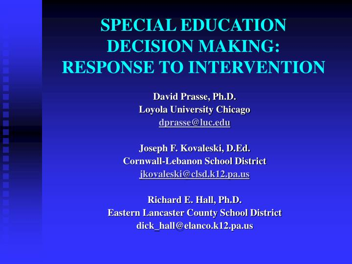 special education decision making response to intervention n.