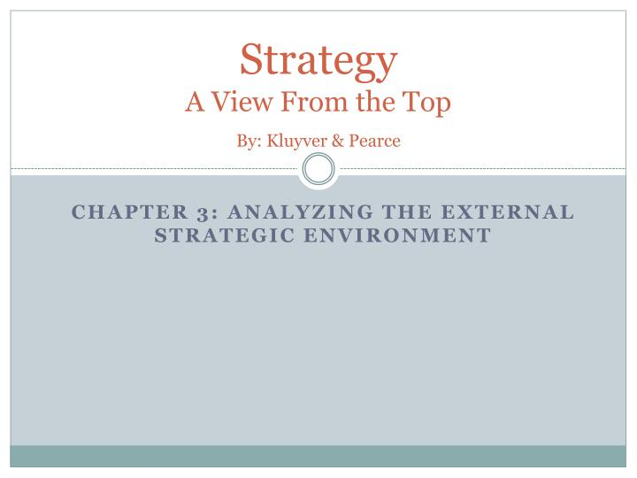 strategy a view from the top by kluyver pearce
