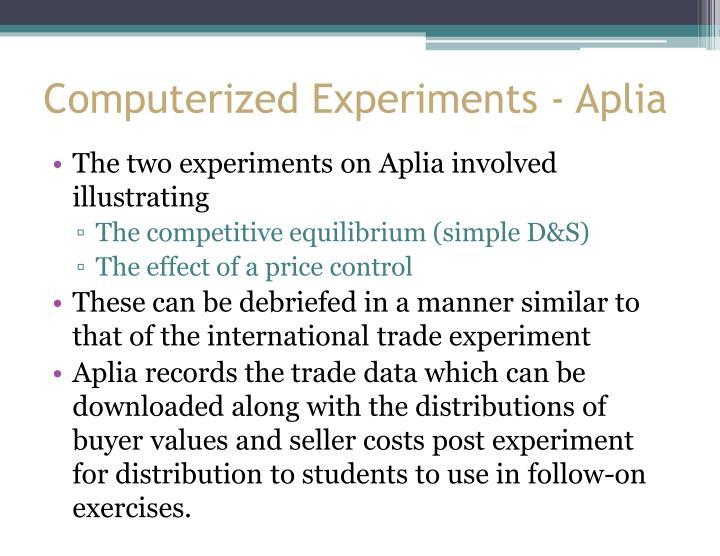 Computerized Experiments - Aplia