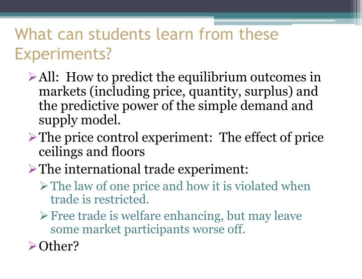 What can students learn from these Experiments?