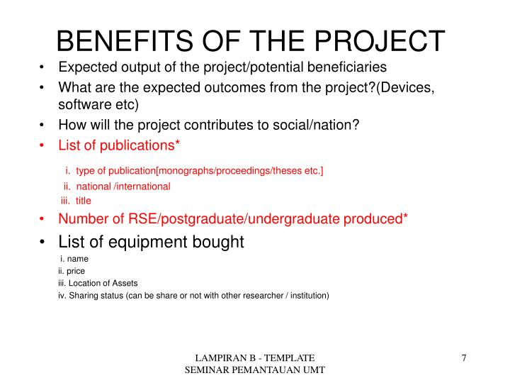 BENEFITS OF THE PROJECT