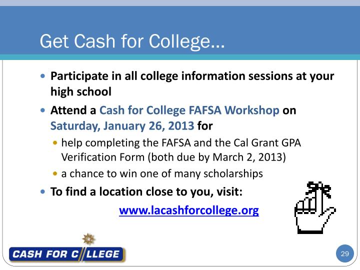 Get Cash for College…