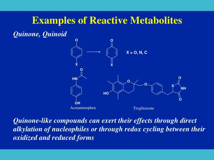 Examples of Reactive Metabolites