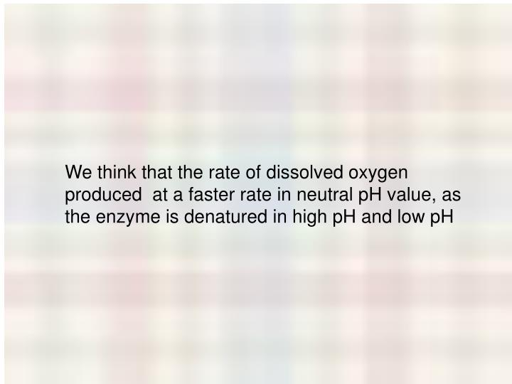 We think that the rate of dissolved oxygen produced  at a faster rate in neutral pH value, as the enzyme is denatured in high pH and low pH