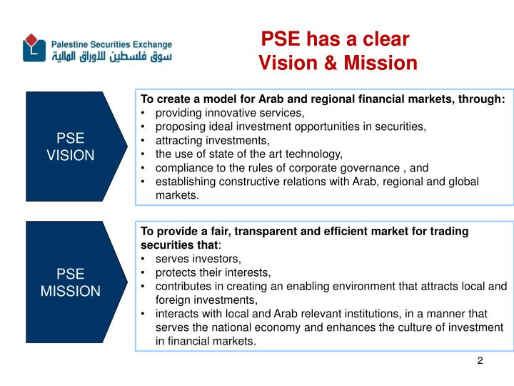 Pse has a clear vision mission